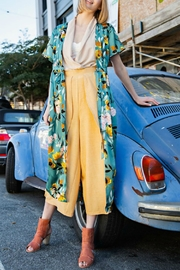 easel Floral Satin Maxi-Cardigan - Front cropped