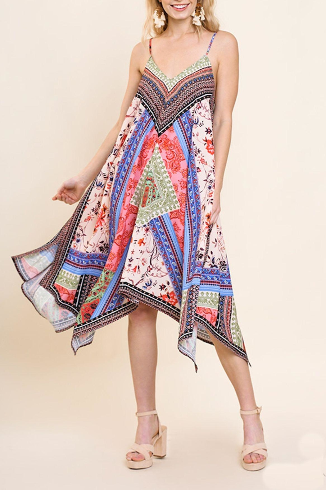 Umgee USA Floral Scarf Dress - Front Cropped Image