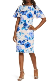 Eliza J Floral Scuba Crepe Sheath Dress - Product Mini Image