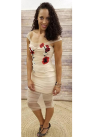L'atiste Floral Sheer Nude Dress - Front cropped