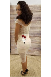 L'atiste Floral Sheer Nude Dress - Front full body