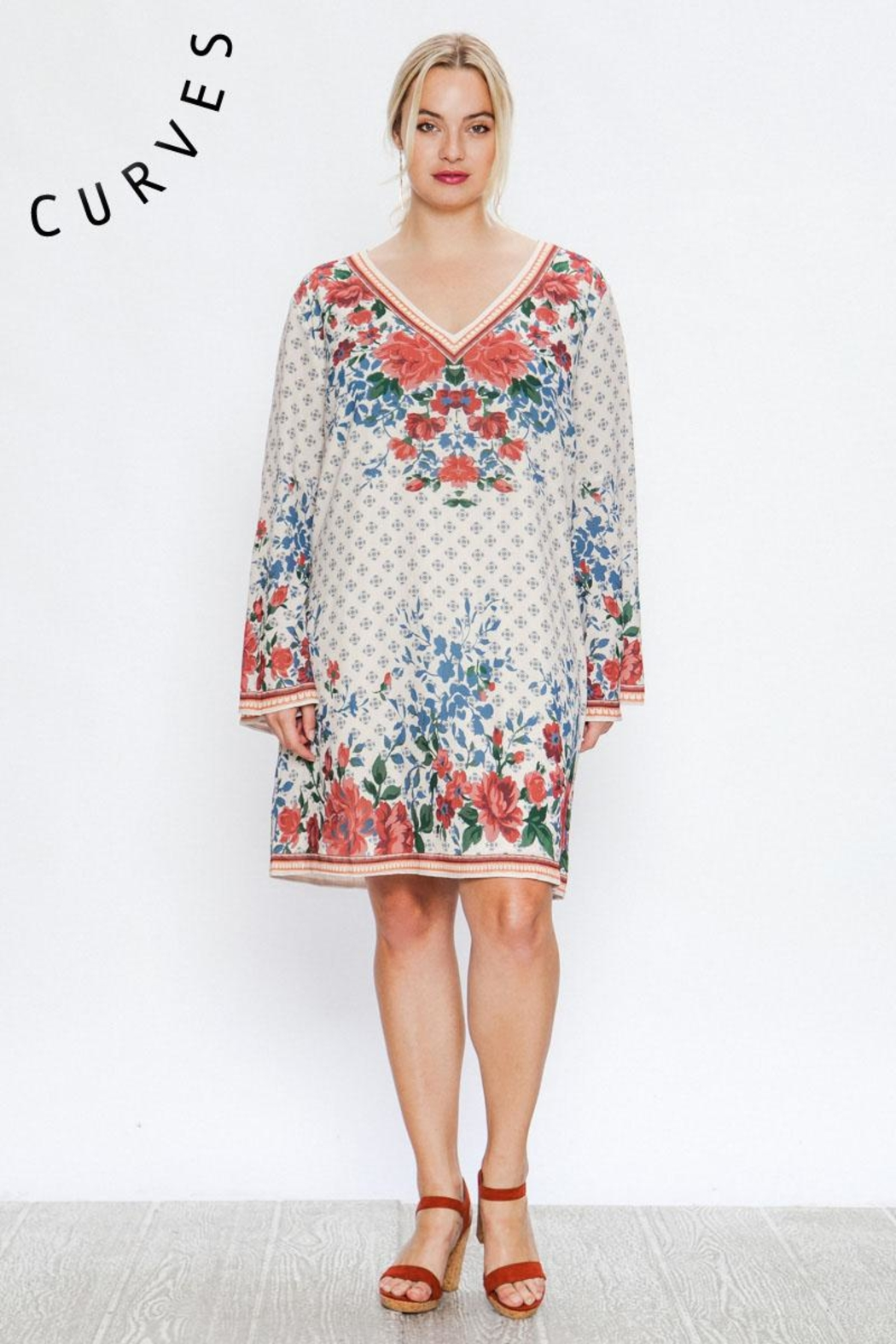 A. Calin Floral Shift Dress - Front Full Image