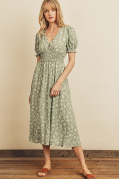 Shoptiques Product: Floral Shirred-Waist Midi Dress