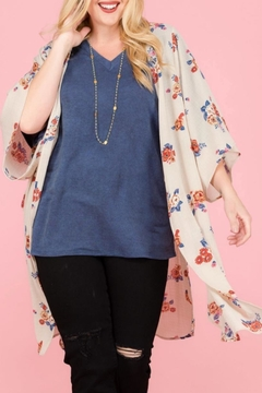 Janette Plus Floral Side-Slit Kimono - Product List Image