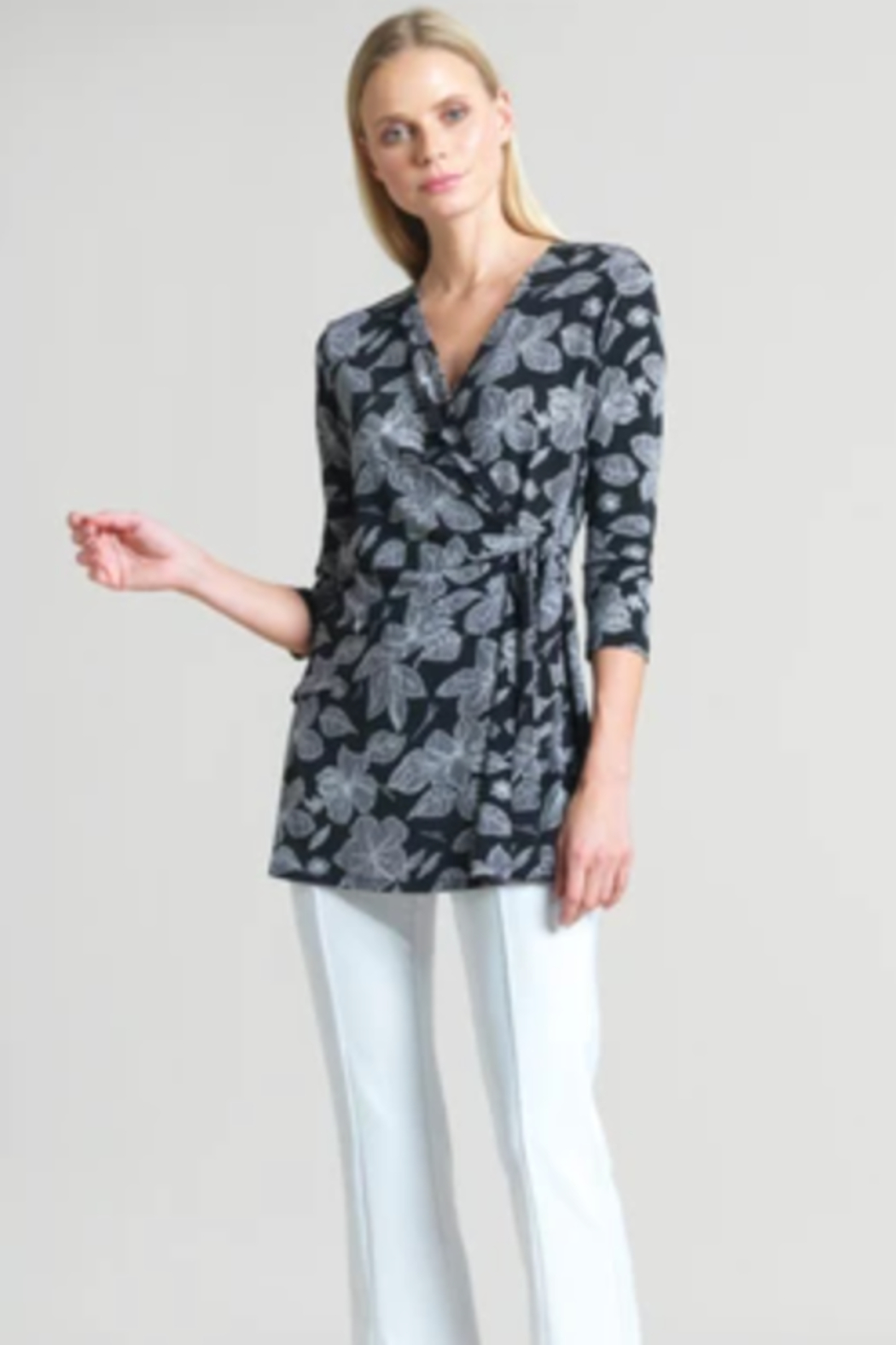 Clara Sunwoo Floral Sketch Soft Knit Side Tie Tunic - Main Image