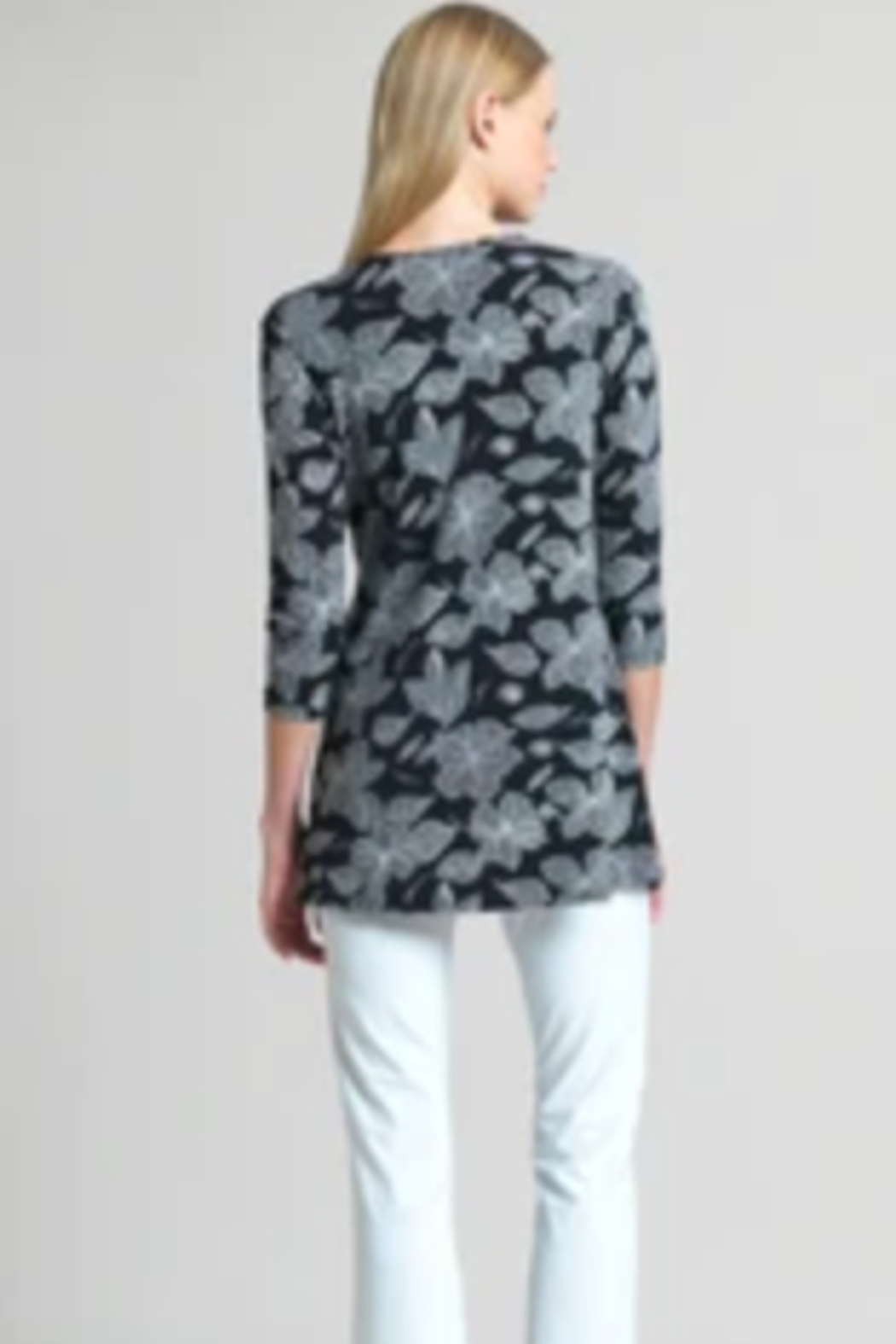 Clara Sunwoo Floral Sketch Soft Knit Side Tie Tunic - Front Full Image