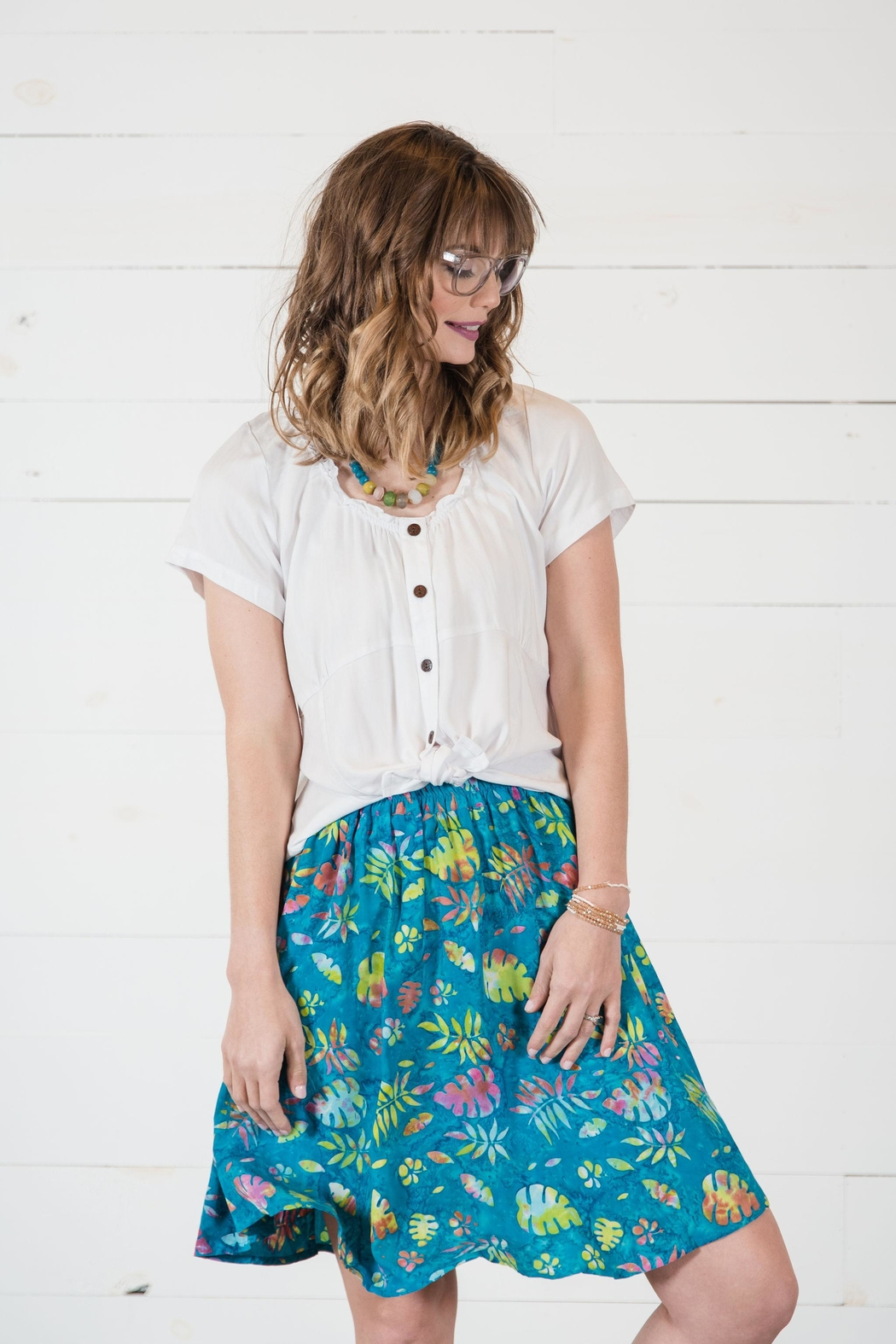 Go Fish Clothing Floral Skirt - Front Full Image