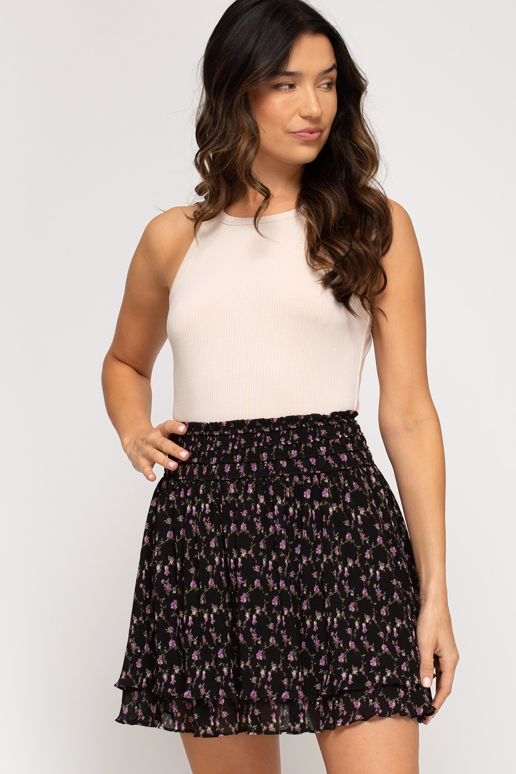 She and Sky Floral Skirt with Waist Smocking - Main Image