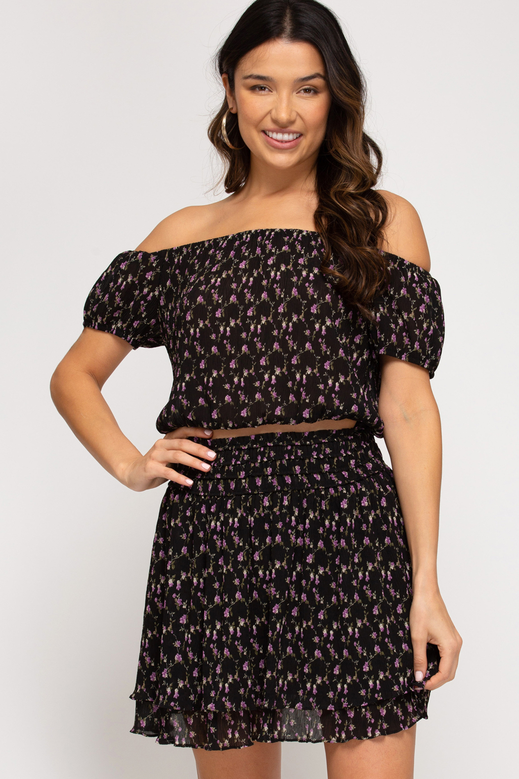 She and Sky Floral Skirt with Waist Smocking - Side Cropped Image