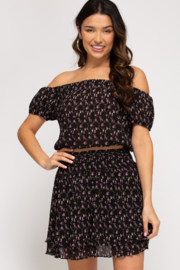 She and Sky Floral Skirt with Waist Smocking - Side cropped