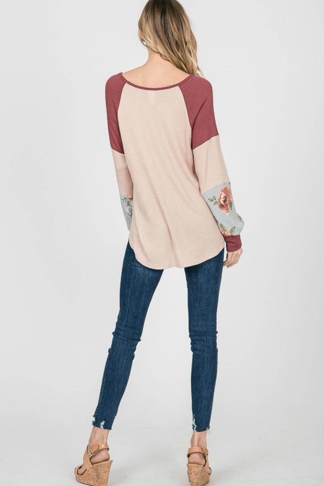7th Ray Floral Sleeve Pullover - Side Cropped Image