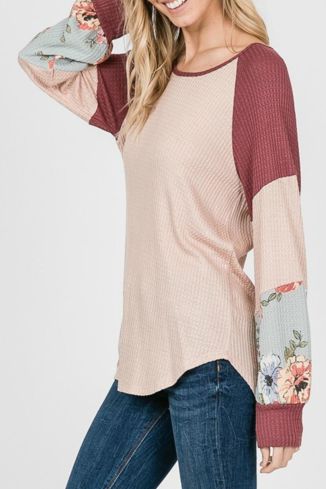 7th Ray Floral Sleeve Pullover - Front Full Image