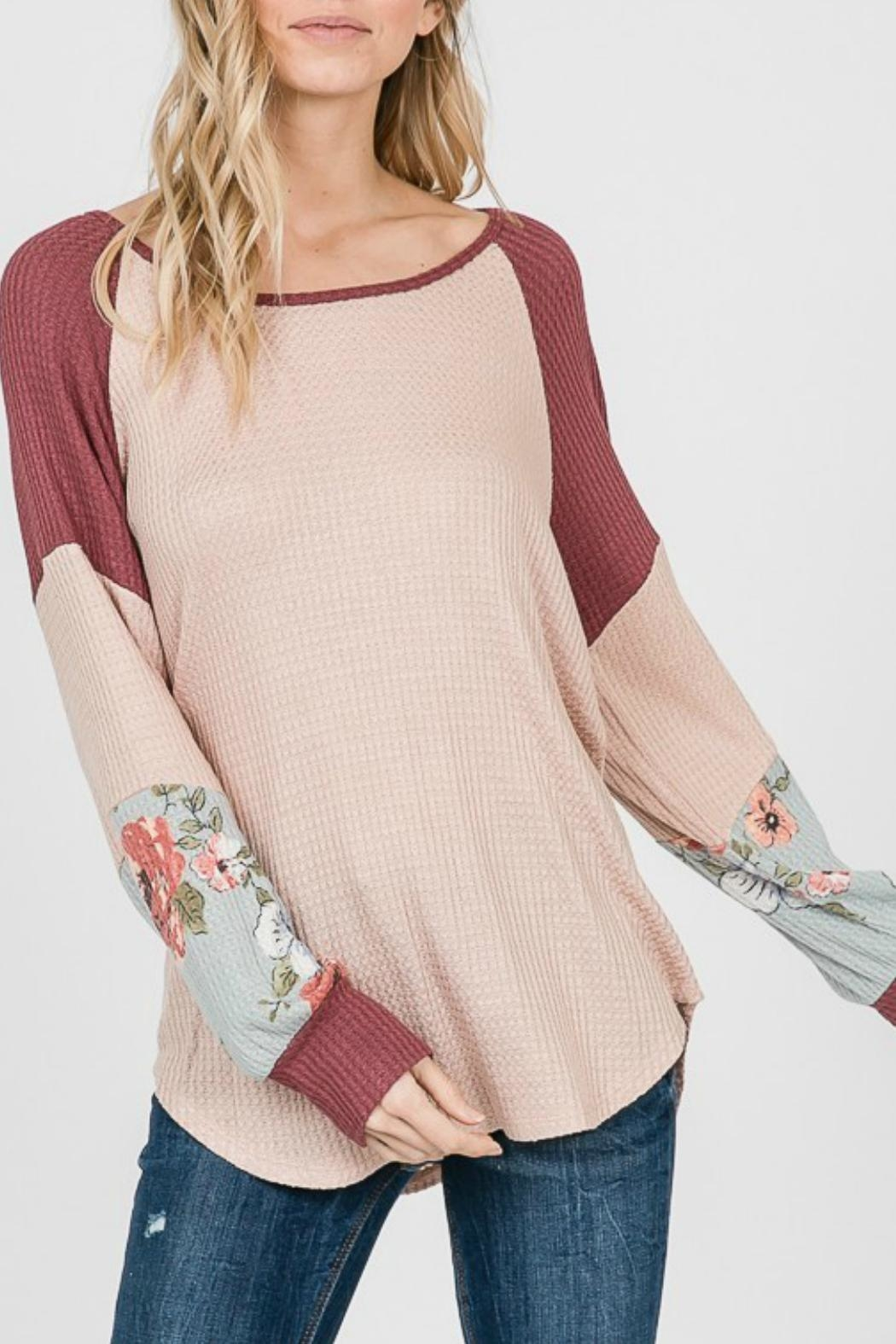 7th Ray Floral Sleeve Pullover - Back Cropped Image