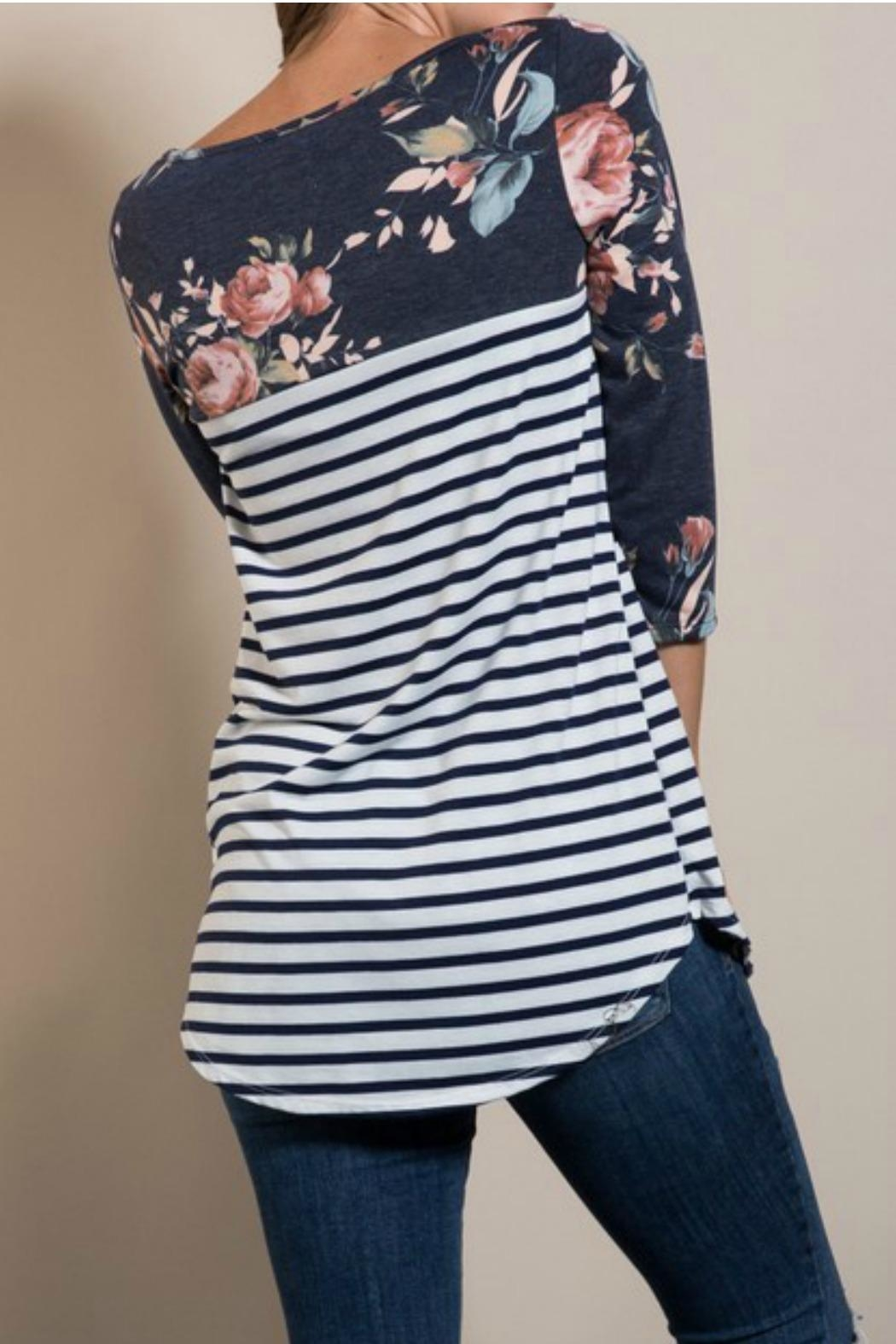 Lovely J Floral Sleeve Top - Back Cropped Image