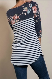 Lovely J Floral Sleeve Top - Back cropped