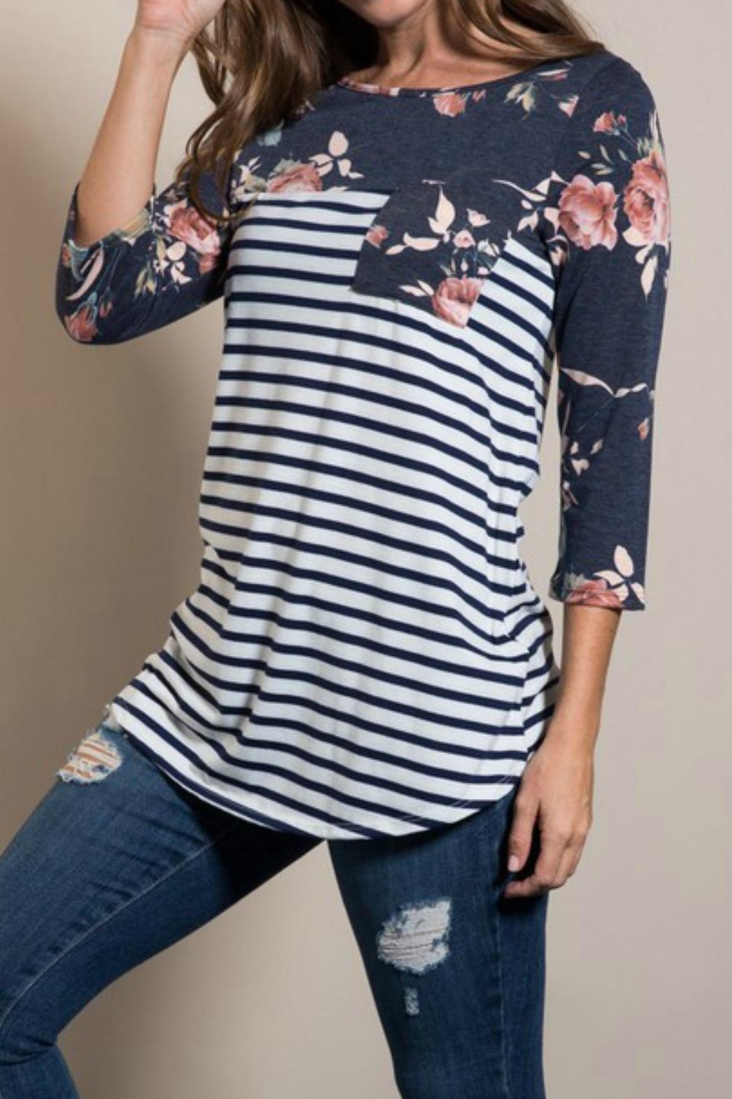 Lovely J Floral Sleeve Top - Main Image