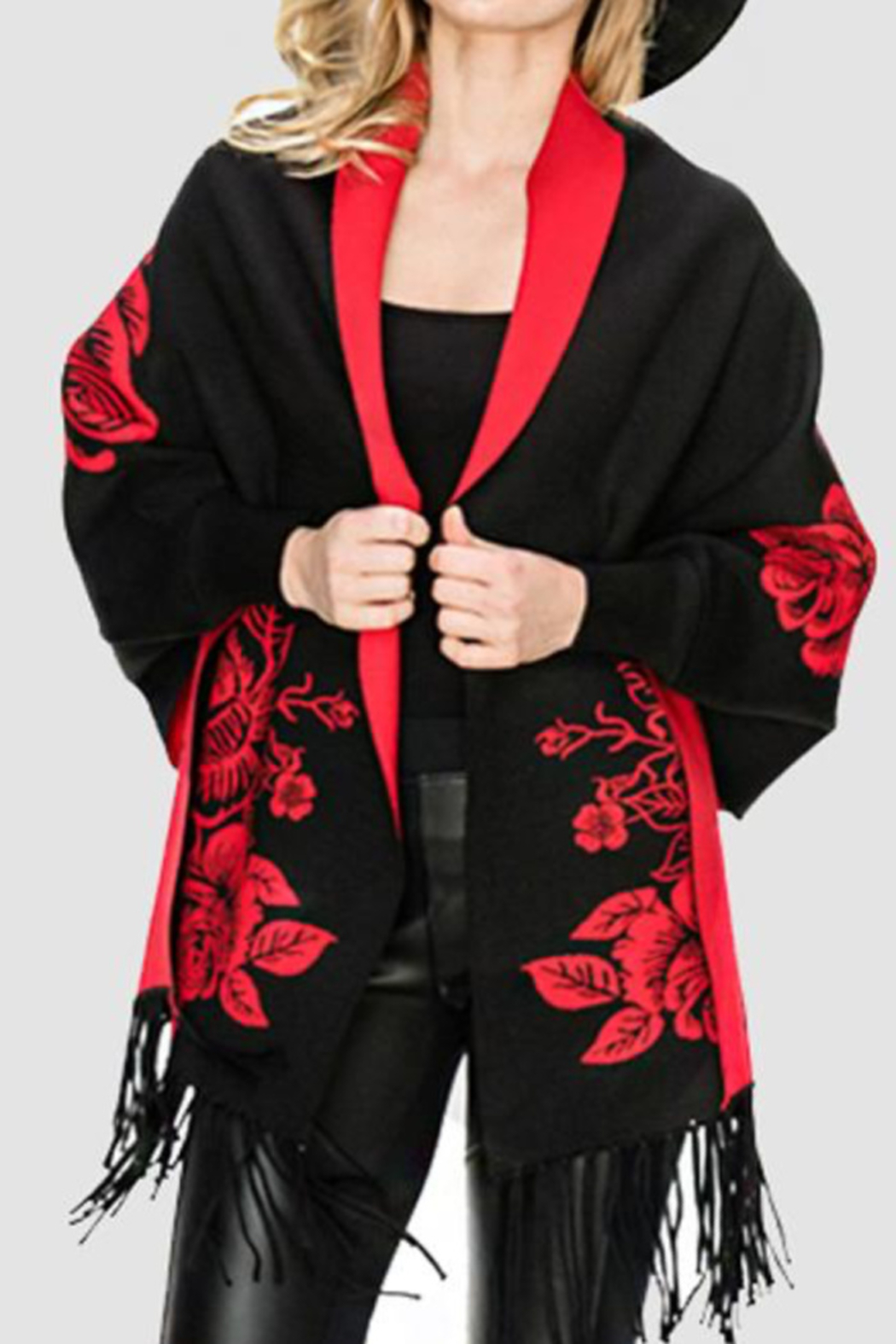 Patricia's Presents Floral Fringed Sleeved Shawl - Main Image