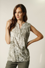 Femme Fatale Floral Sleeveless Blouse w Sequin Pocket - Product Mini Image