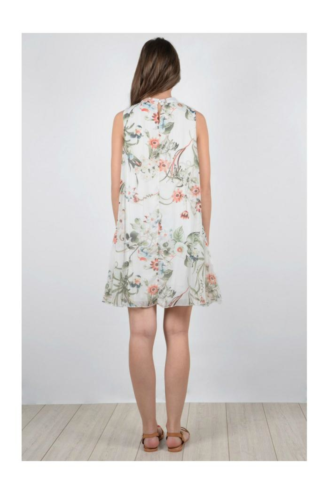 Molly Bracken Floral Sleeveless Dress - Back Cropped Image