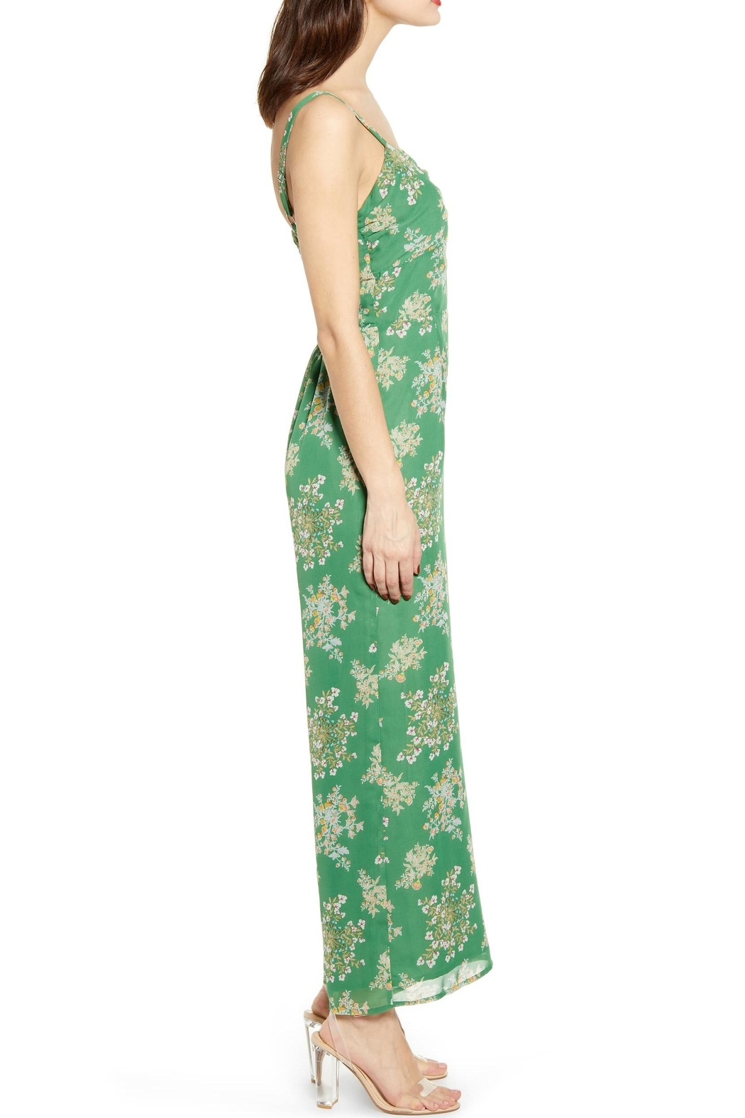 J.O.A. Floral Sleeveless Jumpsuit - Side Cropped Image
