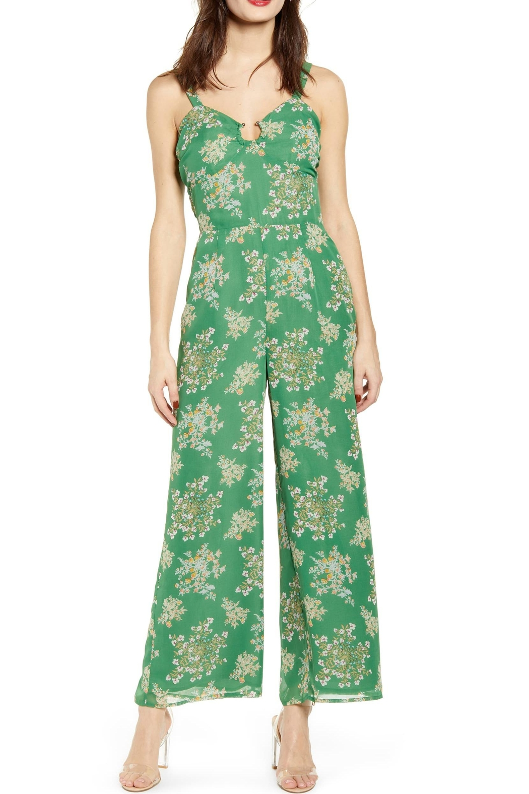 J.O.A. Floral Sleeveless Jumpsuit - Main Image