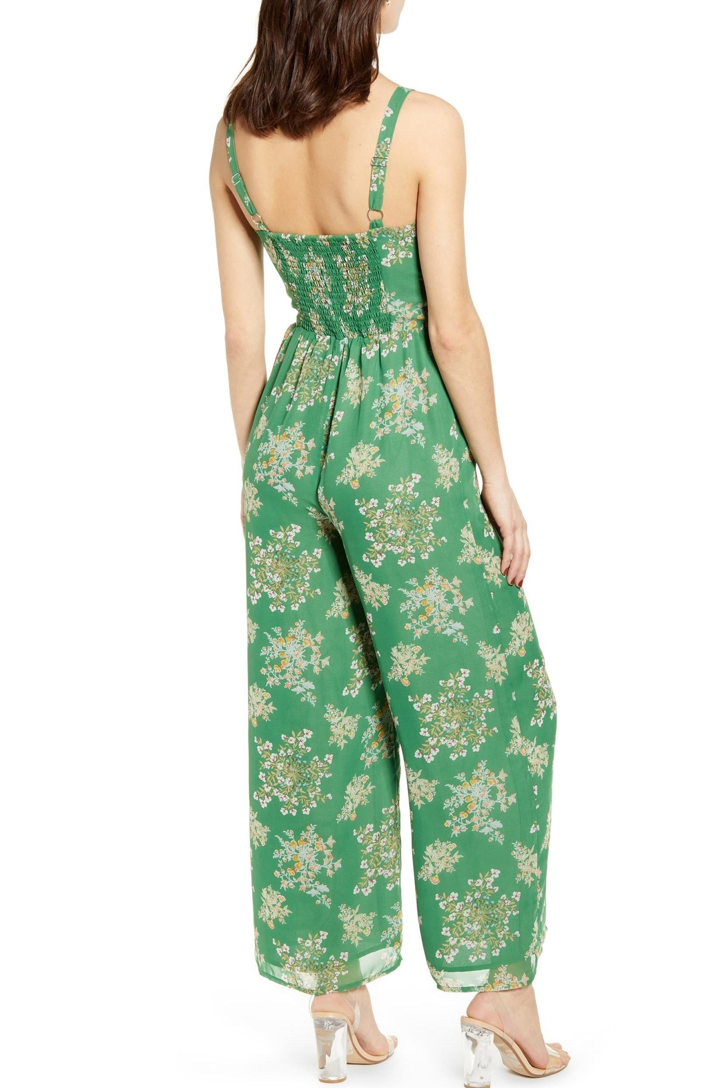 J.O.A. Floral Sleeveless Jumpsuit - Front Full Image