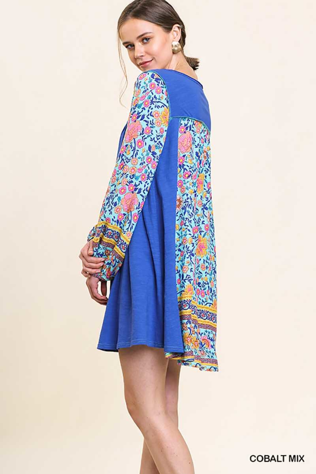Umgee USA Floral Sleeves Tassel Dress - Front Cropped Image