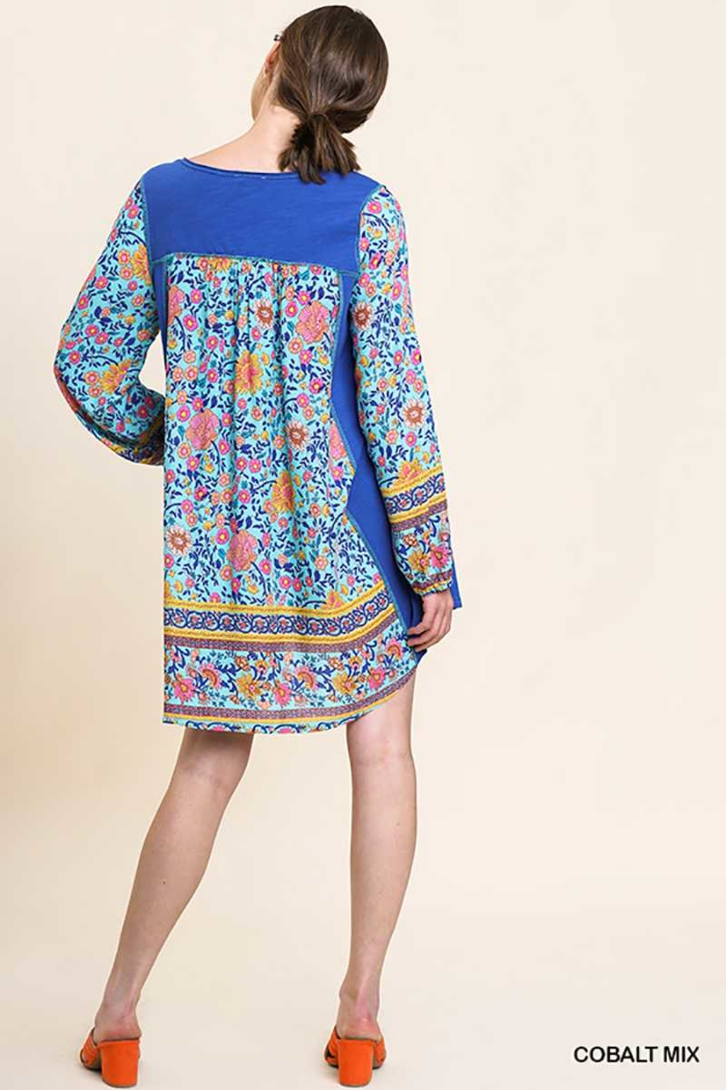 Umgee USA Floral Sleeves Tassel Dress - Front Full Image