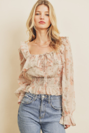 dress forum Floral Smock Waist Blouse - Front cropped