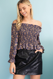 143 Story Floral Smocked Body Off Shoulder Top - Product Mini Image