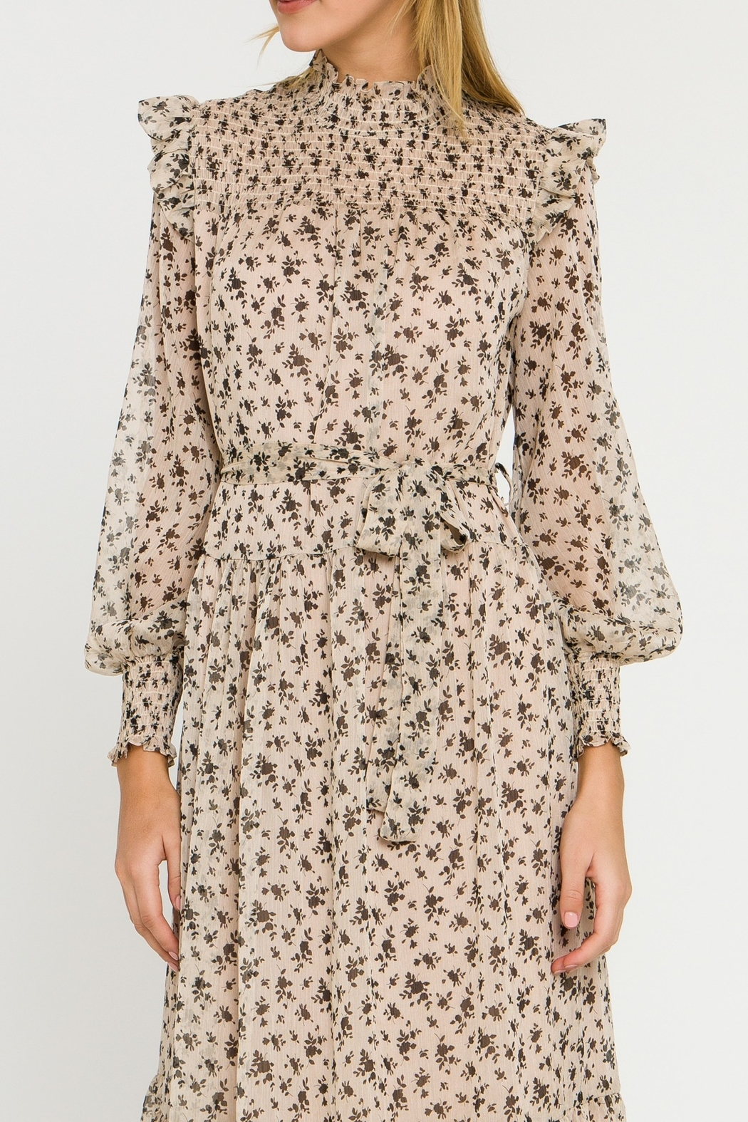English Factory Floral Smocked Maxi Dress - Back Cropped Image