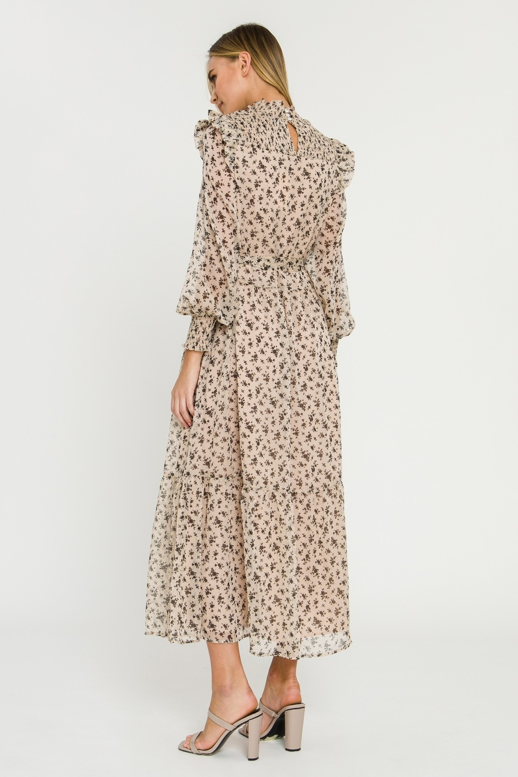 English Factory Floral Smocked Maxi Dress - Side Cropped Image