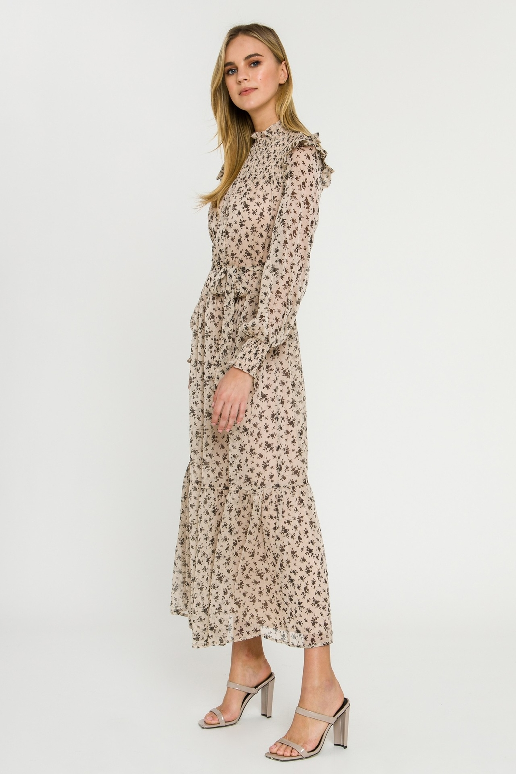 English Factory Floral Smocked Maxi Dress - Front Full Image