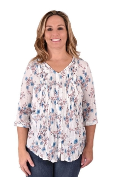 True Blue  Floral Spring Blouse - Product List Image
