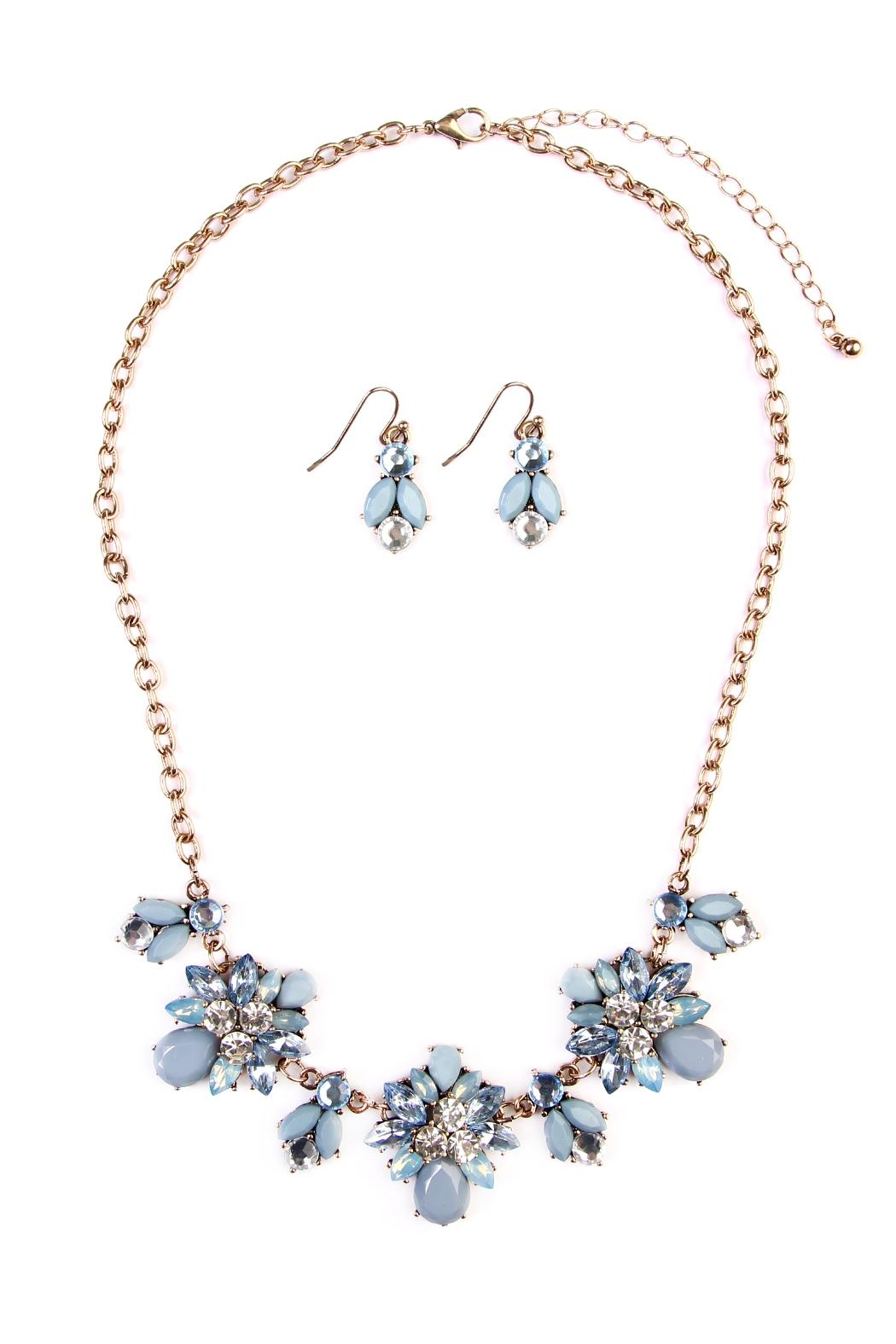 Riah Fashion Floral-Statement Necklace-&-Earring Set - Main Image