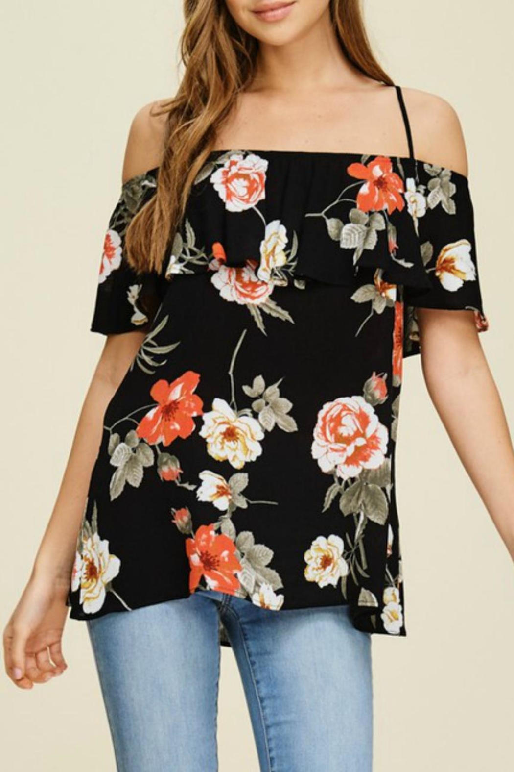White Birch Floral Strappy Off-The-Shoulder - Main Image