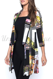 Frank Lyman Floral Stripe Long Sleeve Open Front Duster Jacket - 196221 - Product Mini Image