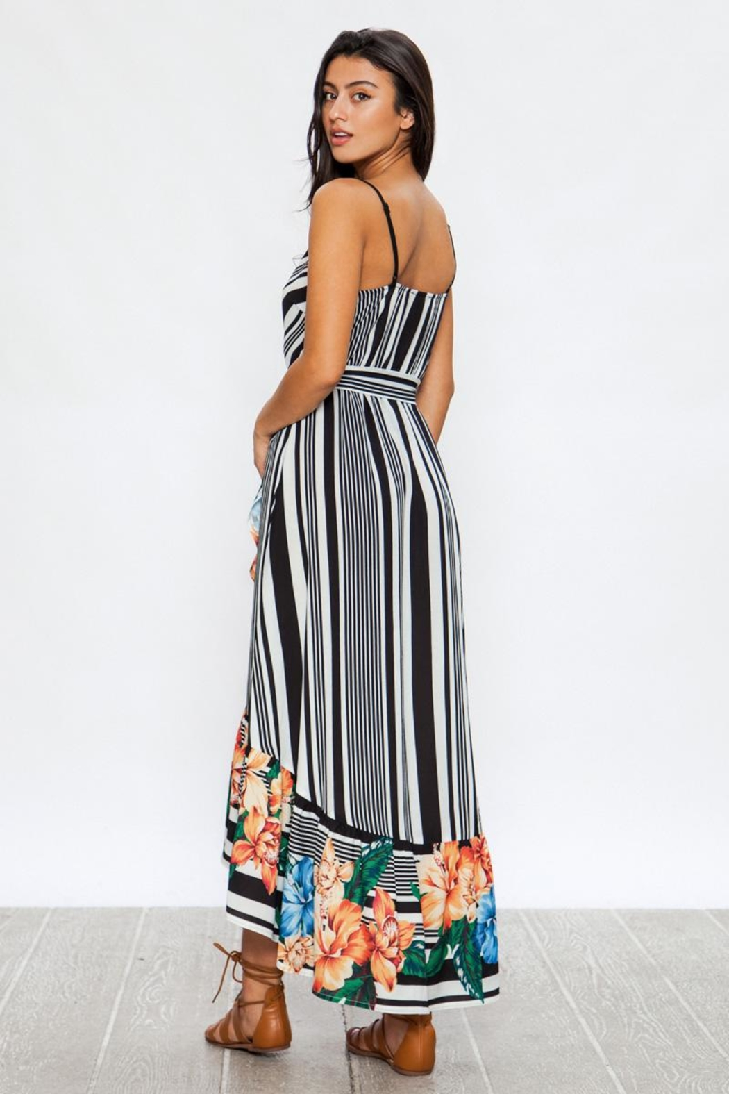 Jealous Tomato Floral Striped High-Low - Front Full Image