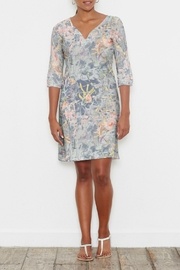 Whimsy Rose Floral Strokes Navy - 3/4 Slv V-Neck Dress - Product Mini Image