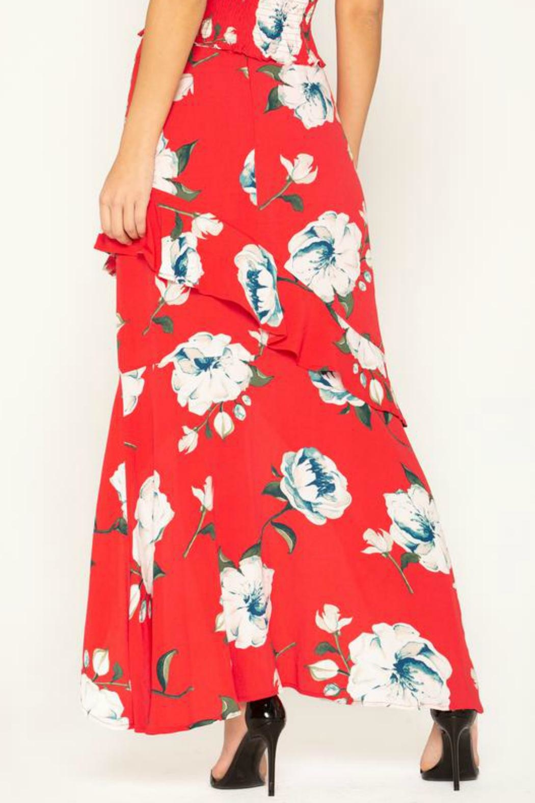 Miss Me Floral-Stunner High-Low Skirt - Front Full Image