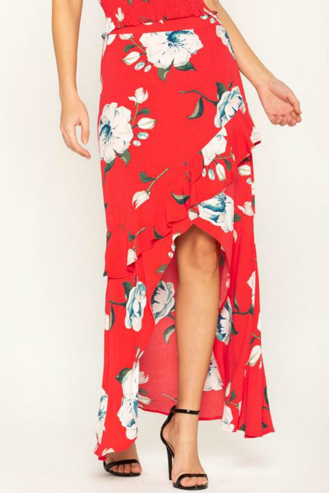 Miss Me Floral-Stunner High-Low Skirt - Main Image