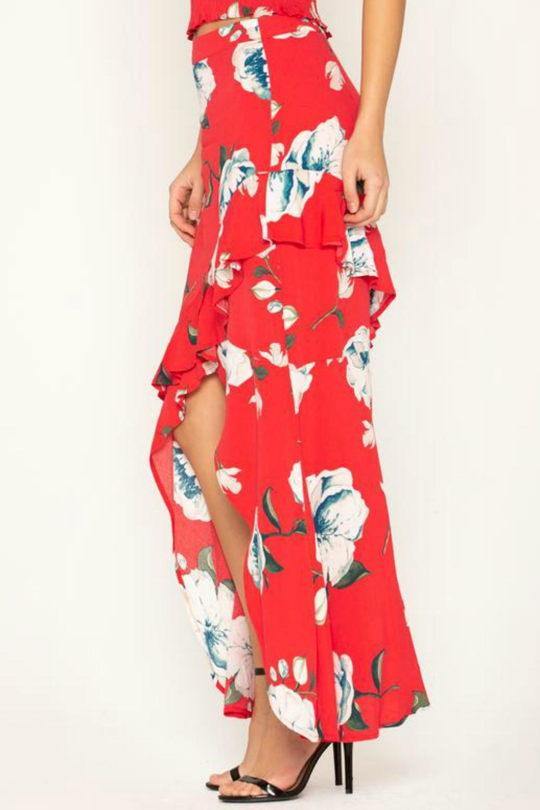 Miss Me Floral-Stunner High-Low Skirt - Side Cropped Image