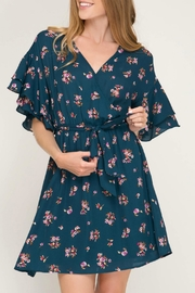 She + Sky Floral Surplice Dress - Front cropped