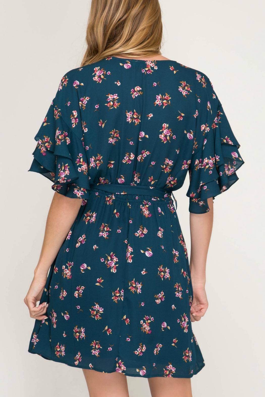She + Sky Floral Surplice Dress - Front Full Image