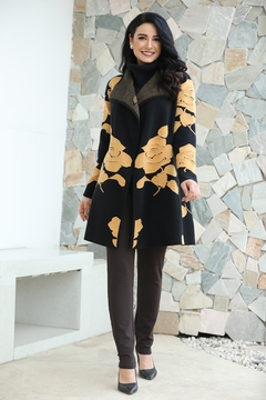 Fashion Village Orange Floral Sweater Coat - Product List Image