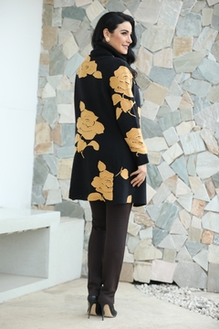 Fashion Village Orange Floral Sweater Coat - Alternate List Image