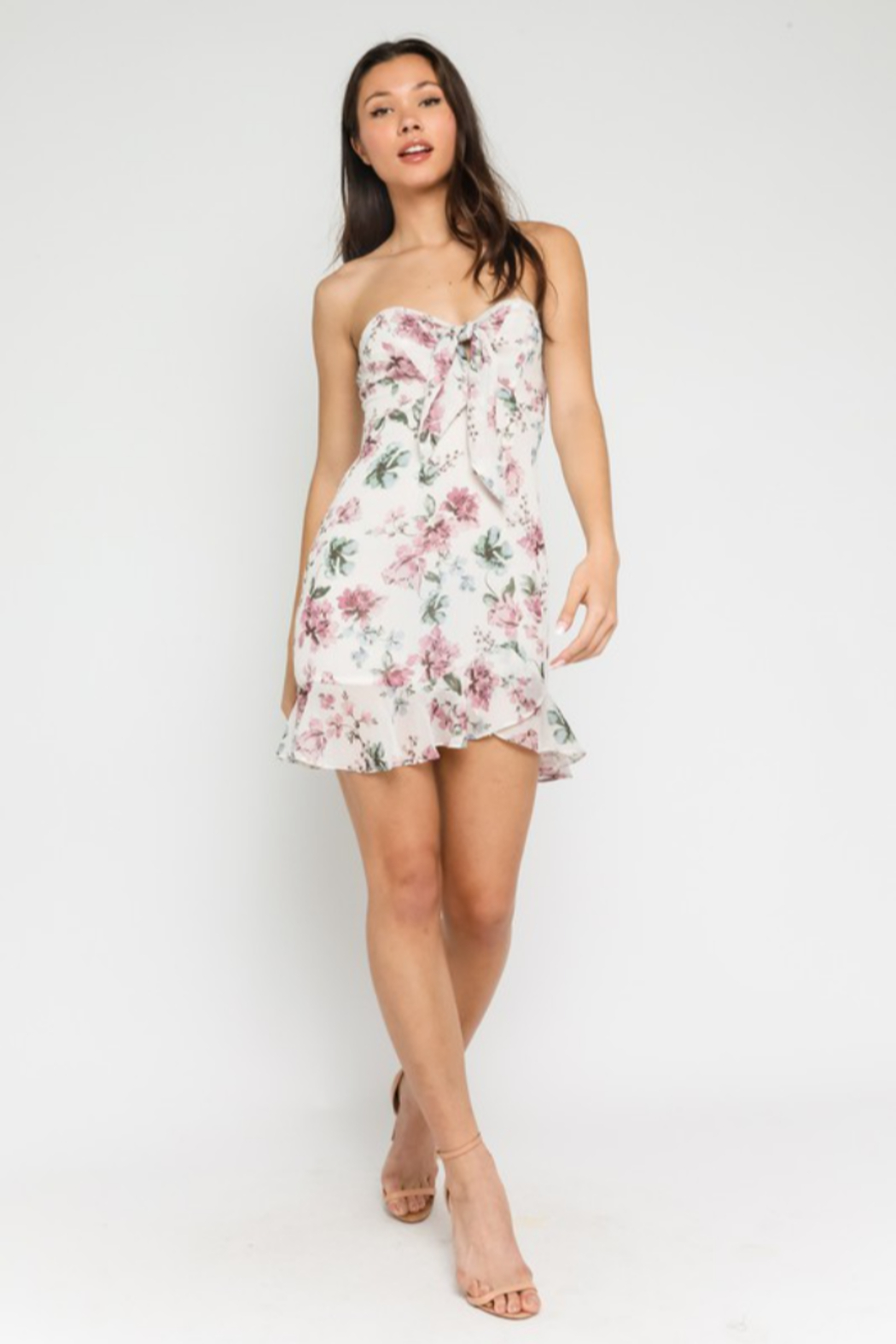 Olivaceous Floral Sweetheart Dress - Side Cropped Image