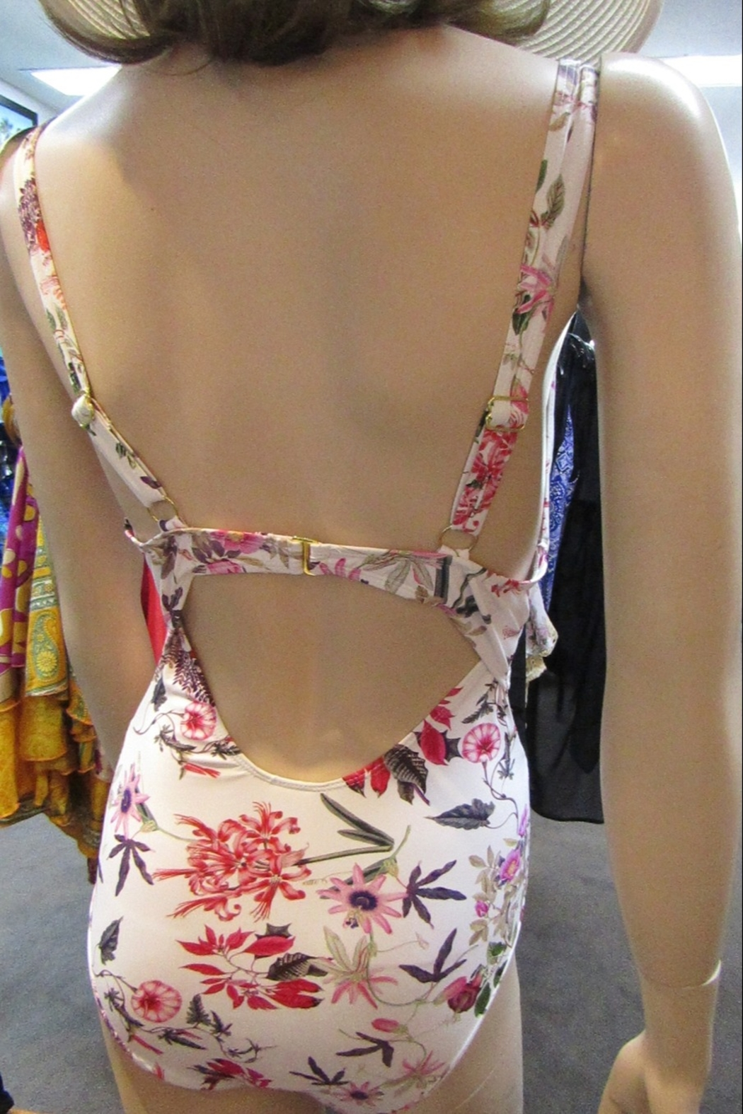 beach joy FLORAL SWIMSUIT with MATCHING COVER-UP - Side Cropped Image