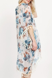 Riah Fashion Floral Tassel Kimonos - Front full body