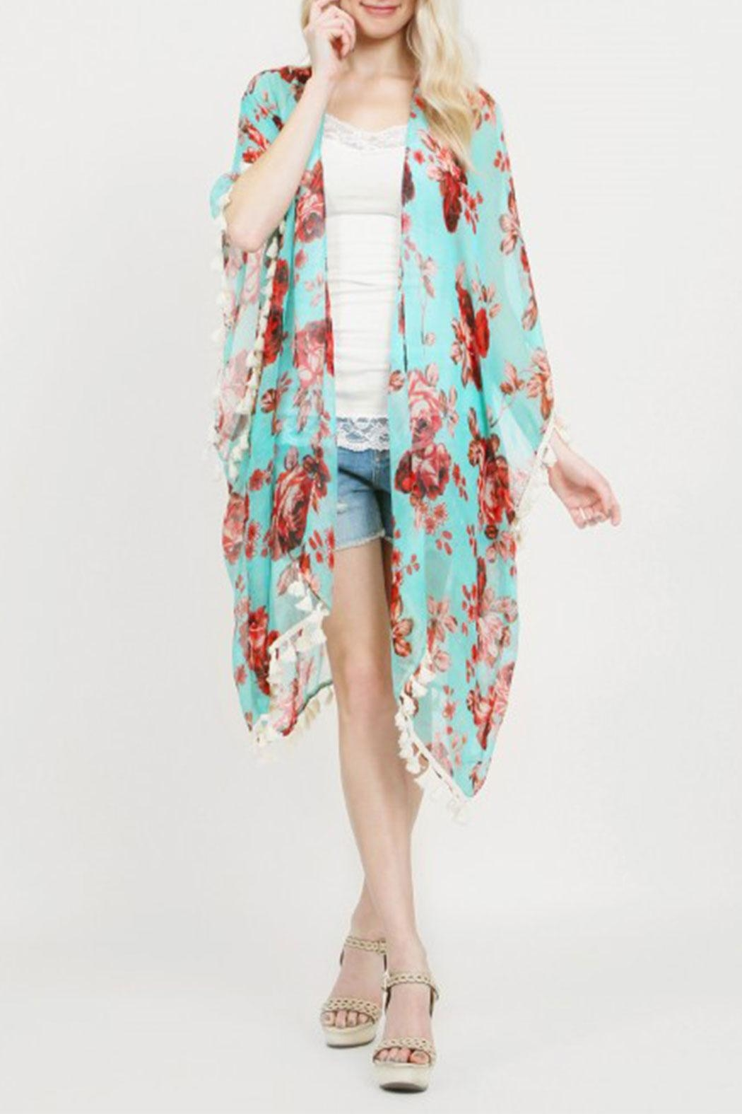 Riah Fashion Floral Tassel Kimonos - Side Cropped Image